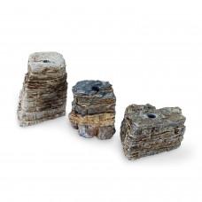 Natural Pagoda Fountain Rocks, Set of 3